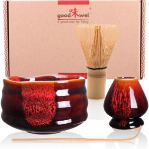 """Ceremonial Matcha Tea Set """"Akai"""", Whisk Size 80"""