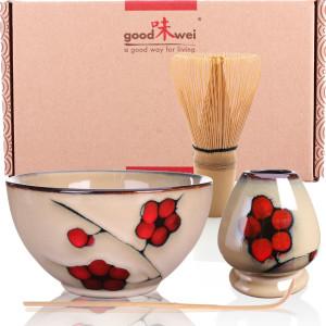 "Ceremonial Matcha Tea Set ""Plum"", Whisk Size 80"