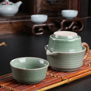 classic asian celadon teapot with crackle-style glazing, 250 ml