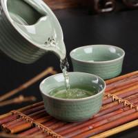 """Chinese Celadon Travel Tea Set """"Wave"""""""
