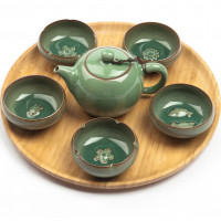 """Exclusive Chinese Gong Fu Cha Tea Set """"Charms"""", Crackle-Glazed Celadon, 6 pieces"""