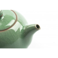 """Exclusive Chinese Gong Fu Cha Tea Set """"Charms"""", Crackle-Glazed Celadon, 3 pieces"""