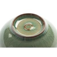 "Ciotola da tè asiatica ""Charms"", celadon con struttura craquelé - motivo ""Plum"""