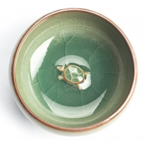 "Chinese Gong Fu Cha Tea Cup ""Turtle"", Crackled..."