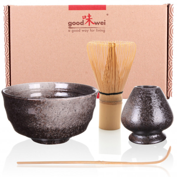 Goodwei Japanese Matcha Set - Ceramic Matcha Bowl, Bamboo Whisk with Holder Chasentate and Scoop