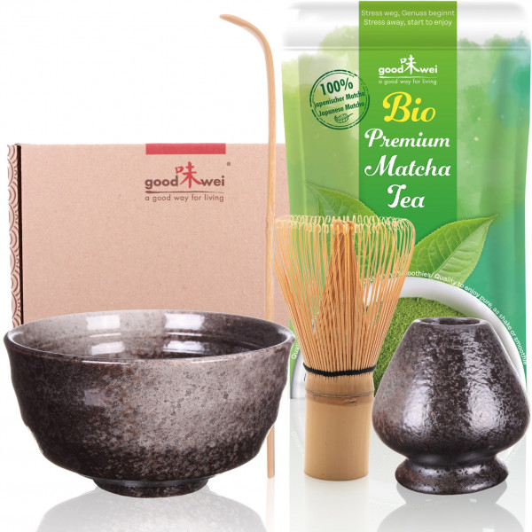 Japanese Matcha Tea Ceremony Starter Set - Ceramic Matcha Bowl Chawan, Bamboo Whisk with Holder and Spoon