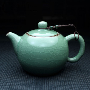 Classic Chinese Tea Pot, Celadon with Crackle-Glazing -...