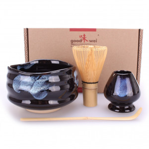 "Goodwei Matcha Tea Set ""Kuro"" - Ceremonial Bowl Chawan, Whisk and Holder + Gift Box (120 white bamboo)"